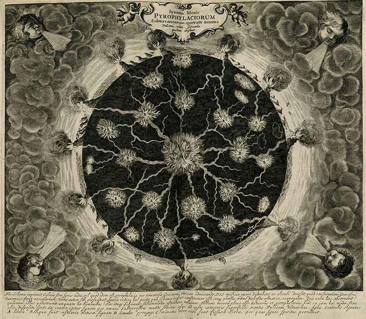 Athanasius Kircher. Mundus Subterraneus, quo universae denique naturae divitiae, 1664. Illustration of underground fire canals. Courtesy: © Wikimedia Commons