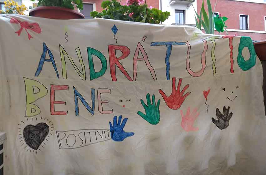 A child's message in Milan, March 2020, courtesy of the 8-years-old who made it